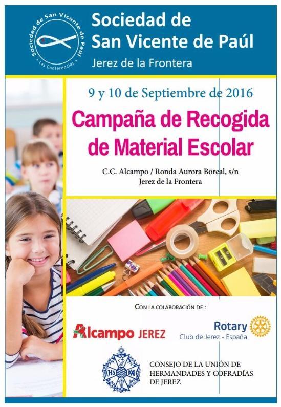 Cartel campana recogida material escolar 2016